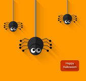 Happy Halloween Spiders flat Illustration Royalty Free Stock Image