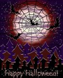 Happy Halloween spiderweb card, vector. Illustration Stock Photo
