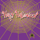 Happy Halloween spiderweb and spider Stock Photography