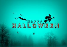 Happy Halloween, A Spooky Forest At Night. Happy Halloween, A Spooky Forest At dark Night Royalty Free Stock Image