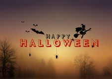 Happy Halloween, A Spooky Forest At Night.  Royalty Free Stock Photos