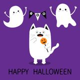 Happy Halloween. Spooky frightened cat holding pumpkin face on stick. Flag garland. Flying ghosts bunting flags Boo. Funny Cute ca Stock Photos