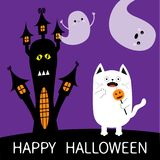 Happy Halloween. Spooky frightened cat holding pumpkin face on stick. Haunted house silhouette. Two flying ghosts hands up Boo. Fu Royalty Free Stock Photos