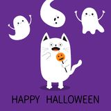Happy Halloween. Spooky frightened cat holding pumpkin face on stick. Three flying ghosts hands up Boo. Funny Cute cartoon baby ch Stock Photo