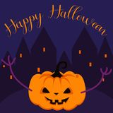 Happy Halloween spooky pumpkin greeting card vector template. Royalty Free Stock Photography