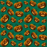 Different Halloween Pumpkins Green Seamless Pattern royalty free stock image