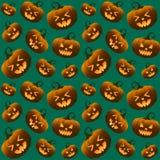 Different Halloween Pumpkins Green Seamless Pattern Royalty Free Stock Image