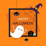 Happy Halloween. Square frame. Flying ghost, monster head silhouette. Black spider dash line. Pumpkin, eyeball, witch hat. Cute ca. Rtoon baby character Flat vector illustration