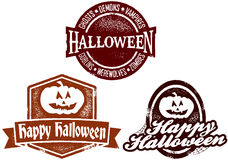 Happy Halloween Stamps. A collection of distressed Halloween themed rubber stamp style imprints Royalty Free Stock Photos