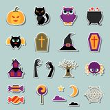 Happy halloween sticker set in flat design style Royalty Free Stock Images