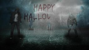 Happy halloween stormy night with zombies 4K. Features animated Zombies standing out in the rain on asphalt in a foggy atmosphere with a hand written Happy stock footage
