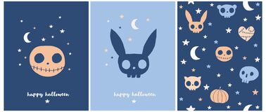 Happy Halloween. Sweet Halloween Party Vector Illustration and Seamless Pattern.