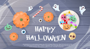 Happy Halloween Sweets Banner Greeting Card Stock Photo