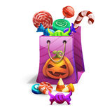 Happy Halloween sweets and candies icons in package. Trick or Trick!. Vector illustration Stock Photos