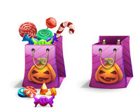 Happy Halloween sweets and candies icons in package. Trick or Trick!. Vector illustration Stock Photo