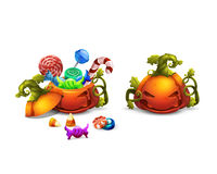 Happy Halloween sweets and candies icons in pumpkin. Trick or Trick! Royalty Free Stock Images