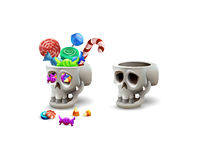 Happy Halloween sweets and candies icons in skull. Trick or Trick!. Vector illustration Royalty Free Stock Photo