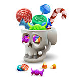 Happy Halloween sweets and candies icons in skull. Vector illustration. Royalty Free Stock Images