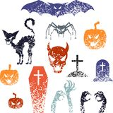 Happy Halloween symbols with grunge texture Royalty Free Stock Photo