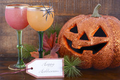 Happy Halloween table with Jack O Lantern pumpkin Royalty Free Stock Photography