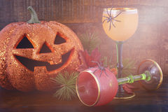 Happy Halloween table with Jack O Lantern pumpkin Stock Images