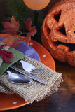 Happy Halloween table with Jack O Lantern pumpkin Stock Photography