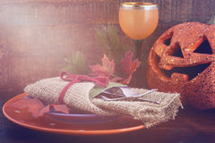 Happy Halloween table with Jack O Lantern pumpkin Royalty Free Stock Images