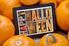 Happy Halloween on tablet Stock Photo