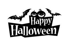 Happy Halloween Text Banner with a bat and pumpkins Stock Photos