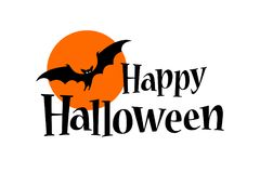 Happy Halloween Text Banner with a bat Stock Photo