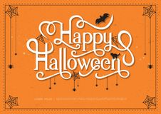 Happy Halloween. Text banner calligraphy vector and spider web design Stock Photography