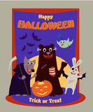 Happy Halloween text banner on purple spooky background. With animals, bear, wolf, rabbit, bird, pumpkins and full moon stock illustration