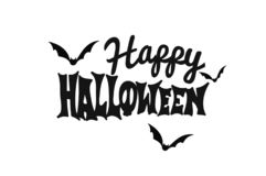 Happy Halloween text black and white stock photo