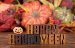 Happy Halloween Text With Colorful Autumn Background Royalty Free Stock Photography