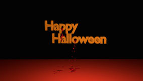 Happy Halloween Text. With descended bloodstrops. 3d illustration on black background vector illustration