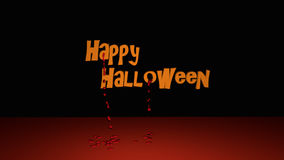 Happy Halloween. Text with descended bloodstrops. 3d illustration on black background royalty free illustration