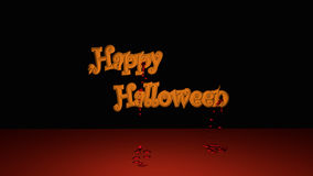 Happy Halloween Text. With descended bloodstrops. 3d illustration on black background royalty free illustration