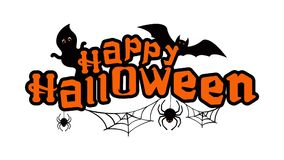 Happy halloween text with ghosts, bat and spiders. Illustration Royalty Free Stock Photos