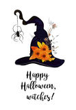 Happy Halloween text, Greeting card with witch magic hat with bl Royalty Free Stock Photos