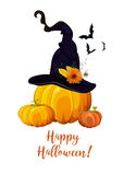 Happy Halloween text, Greeting card with witch magic hat, orange Stock Photo