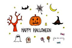 Happy Halloween text. Hand drawn pumpkin, bat, ghost, candy, spi Stock Images
