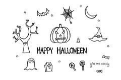 Happy Halloween text. Hand drawn pumpkin, bat, ghost, candy, spider web Stock Photography
