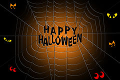 Happy Halloween text in the middle of a spooky spider web Stock Photos