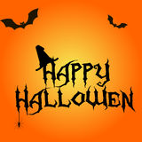 Happy Halloween text on orange background with flying bats around Stock Photos