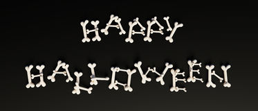 Happy Halloween text printed with bones Royalty Free Stock Photos