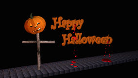 Happy Halloween text with pumpkin lantern. On a wooden walkway. 3d illustration on black background royalty free illustration
