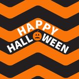 Happy Halloween text Pumpkin smiling face. Zigzag waves. Sea Ocean water shape. Seamless Pattern Wrapping paper, textile template. Black orange background Flat Stock Photo