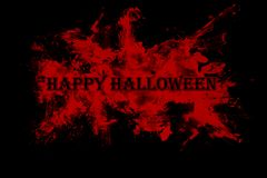 Happy Halloween text on red and black background stock illustration