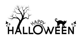 Happy Halloween text with silhouettes on the letters stock illustration