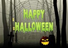 Happy Halloween text on spider web in dark gloomy woods Stock Images